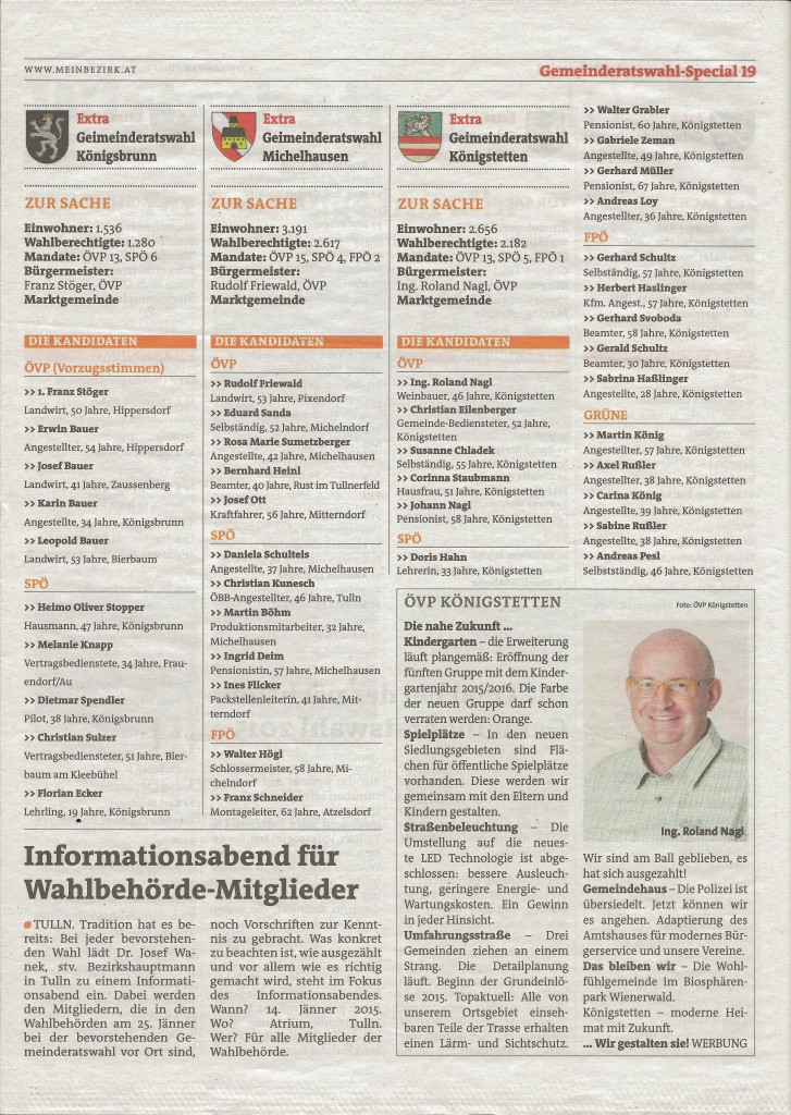 "Bezirksblatt Gemeinderatswahl 2015 ""Special"""