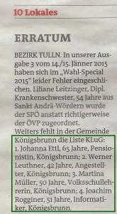 Aus Bezirksblätter Tulln S. 10 Ausgabe 4 Mi./Do. 21./22. Jänner 2015