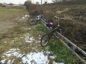 Fahrräder bei der Haltestelle Königsbrunn-Unterstockstall