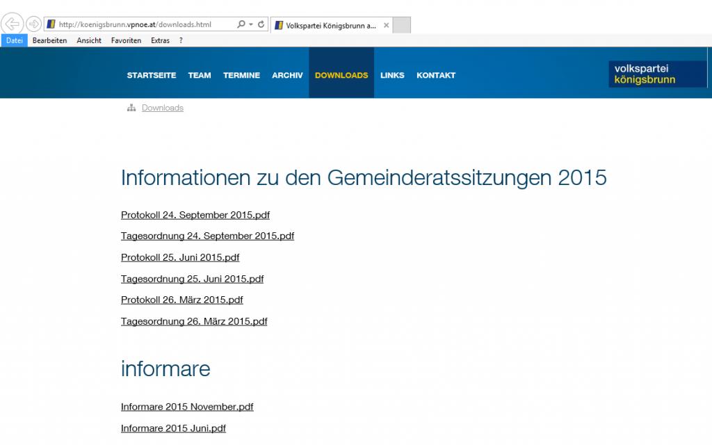 Screenshot der Downloadseite der ÖVP-Königsbrunn