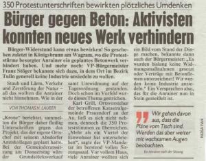 Bericht der Kronen Zeitung vom 13, März 2016