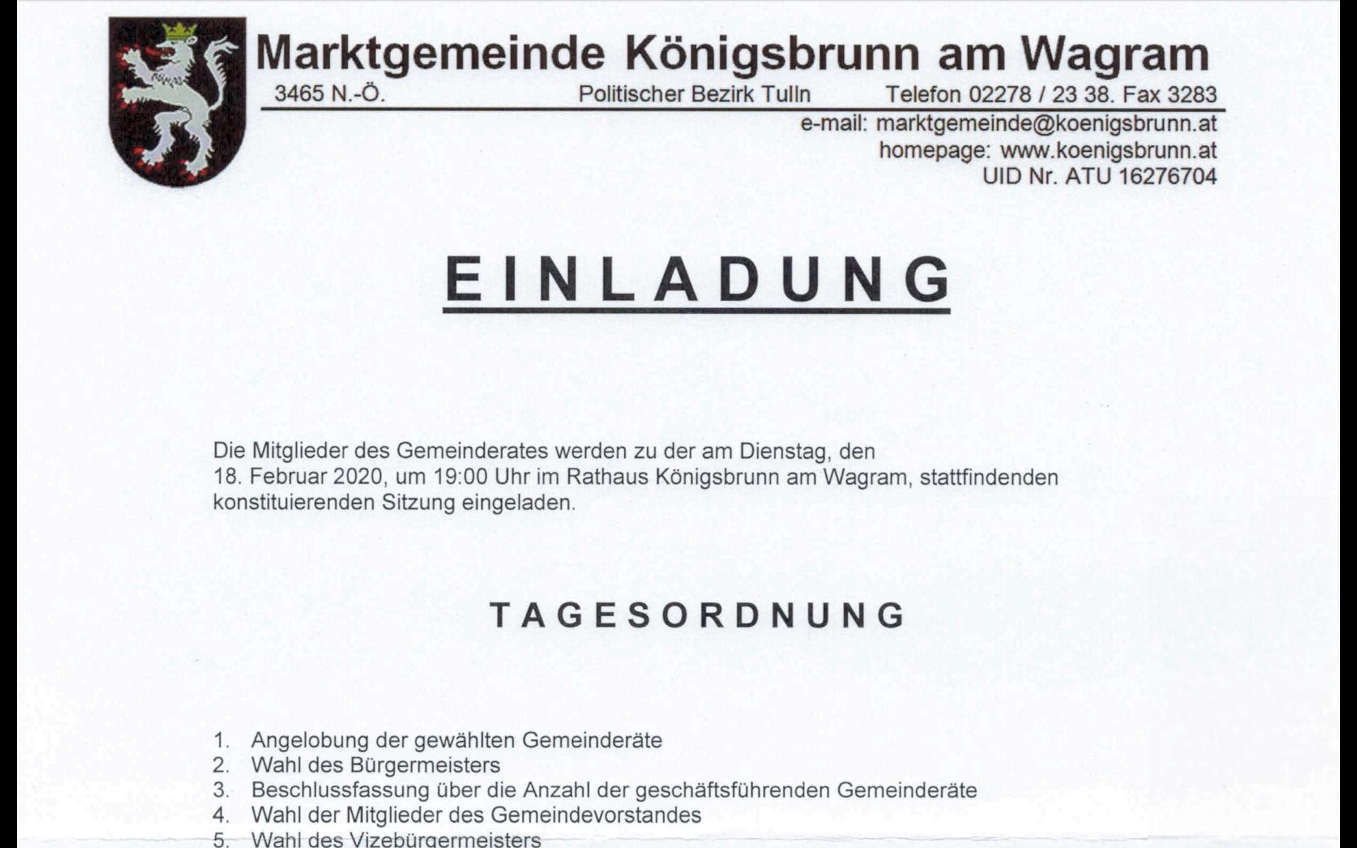 Einladung GR-Sitzung 18.02.2020